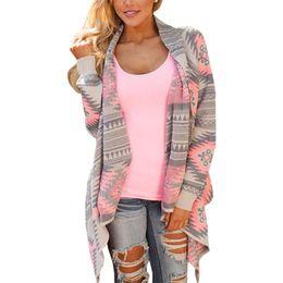 Wholesale irregular clothing wholesale - Wholesale- Sweater coat women hot irregular printing knit cardigan jacket long shirt large size coats women's clothing vestidos LBD6365