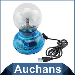 """Esfera de luz de navidad online-Al por mayor- 3 """"bola de plasma USB esfera electrostática mágica bola cristalina de la lámpara globo de escritorio del ordenador portátil Lightning lámpara de luz de la fiesta de Navidad"""
