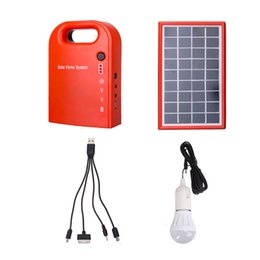 Wholesale Solar Charger Emergency Power - Wholesale-Portable Large Capacity Solar Power Bank Panel 2 LED Lamp Male Female USB Cable Battery Charger Emergency Lighting System