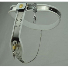 Wholesale T Type Chastity Belt - M148 new bondage female stainless steel lockable & adjustable T-Type chastity devices belt (white & black to choose), sex toys for women