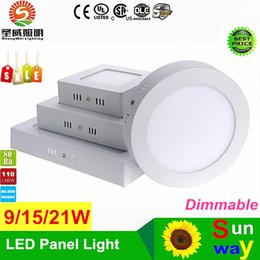 Wholesale Downlight Led 21w - Dimmable 9W 15W 21W 30W Round Square Led Panel Light Surface Mounted Led Downlight lighting Led ceiling downlight AC85-265V free shippiing