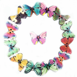 Wholesale Sewing Buttons Purple - New 50Pcs Mixed Bulk Butterfly Phantom Wooden Sewing Buttons Scrapbooking For DIY Jewelry Making Bracelts Necklaces