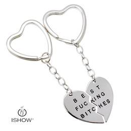 Wholesale Broken Key Ring - New keychains hollow broken heart key ring broken heart shape alloy keychain BEST FUCKING BITCHES lettering key rings HYKX1111-2