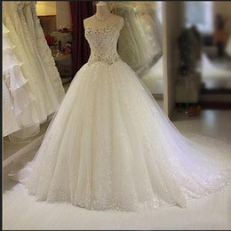 Wholesale Cheap Wedding Dreses - Sparkly Bling Beads Crystal A line Wedding Dreses Custom Tulle Sequined Sweetheart Corset Court Train Bridal Gowns Cheap Vestido