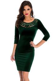 Wholesale Velours Dress - Office Ladies Sheath Dress Dark Green Hollow Out Round Neck Sleeved Velvet Dress Female Vestidos Robe Velours