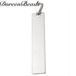 Argentina 304 Etiquetas de estampado en blanco de acero inoxidable colgantes Rectángulo Tono plateado 45 mm x 10 mm, 10 piezas nuevas Envío gratuito de joyería Suministro