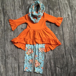 Wholesale Spring Color Scarves - FALL Winter scarf children baby girls floral dress top ruffle cotton milk silk 3pieces long sleeves boutique children clothes
