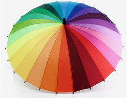 Wholesale Rainbow Pencils - Top Quality 24k Rib Color Rainbow Fashion Long Handle Straight Anti-UV Sun Rain Stick Umbrella Manual Big Parasol