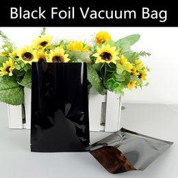 Wholesale Vacuum Sealing - 100pcs lot Small Black Open Top Aluminizing Packaging Bag Black Foil Vacuum Powder Herbal Medicine Pouch Small Heat Sealing Bag