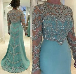 Wholesale Nude Long Sleeve Shirt - 2017 Sheath Evening Dresses with Crew Neckline Long Sleeves Sweep Train Illusion Beaded Crystal Vestidos Festa Party Prom Gowns
