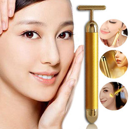 Wholesale Gold Face Roller - Energy beauty bar Slimming Face 24k Gold Vibration Facial Beauty Roller Massager Stick Lift Skin Tightening Wrinkle Stick Bar Face with Box
