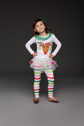 Wholesale Christmas Style Leggings - 2016 children christmas clothes baby girls striped outfits for X'mas kids deer long sleeve Tshirt+tutu skirts leggings 2 pcs set girl's suit