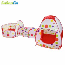 Wholesale Cartoon Tube - Wholesale-Play House Tent Tunnel Pool-Tube-Teepee 3pc Pop-up Baby Tents Children Kids Adventure House Room Toddler Toy