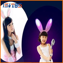 Wholesale Led Bunny Ears - LED Lovely Bunny Rabbit Ears LED Hairband Headband Light-Up LED Minnie Flashing Party Halloween Costume Dress Up Gift