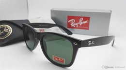Wholesale Vintage Black Frame Glasses - New Vintage Sunglasses Cat Eye Wayfarers Brand RAY Sun Glasses Bands Gafas de sol Men Women BEN BANS Mirror glass Lenses with case