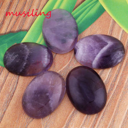 Wholesale Oval Lapis Beads - 22x30mm Amethyst Rose Quartz etc Natural Stone Oval Beads Cabochon Bead Jewelry Findings Accessories Diy Jewelry Making 50pcs