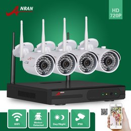 Wholesale Home Security Camera Kits - DHL FREE 4CH P2P ANRAN 720P HDMI WIFI NVR Outdoor Waterproof IR Network CCTV Home Video Security 1.0 MP Wireless IP Camera System NVR Kit