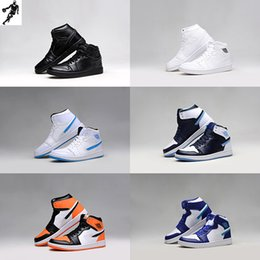 Wholesale Football Boots Free Shipping - New Arrival 1 1s Mens basketball shoes black white blue Cheap Original Quality Athletic boost 1 shoes outdoor shoes free shipping