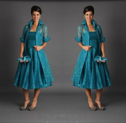 Wholesale plus size tea length organza - 2018 Plus Size Tea Length Mother of The Bride Dresses Jacket Strapless Sleeveless Hunter Green Short Suits Evening Gowns