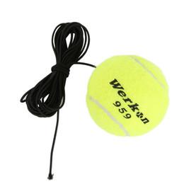 tennisbälle elastisch Rabatt Großhandels-Elastic Rubber Band Tennisbälle gelb grün Tennis Training Belt Line Trainingsball, um Ihre Fähigkeiten zu verbessern