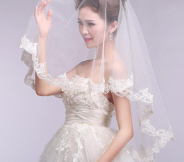 Wholesale Real Samples Wedding Dresses - New White or Ivory VEIL 1.5M Cheap Short Wedding Veils with Lace Edge White Tulle Real Sample Bridal Veils For Wedding Dresses