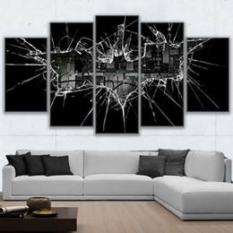 Современные картины из стекла онлайн-Модульная рамка старинные домашнего декора картины на холсте 5 шт. Бэтмен плакаты современные HD печатных битое стекло фотографии стены искусства