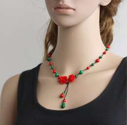 Wholesale Natural Gemstone Carved Pendants - Natural gemstone long beaded necklace Original handcrafted corallite necklace Hot sale ethnic style carved flower Pendant Beryl Jewelry new
