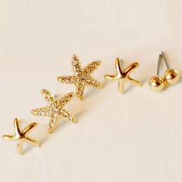 Wholesale Earing Green - Wholesales 3pairs bag Starfish Shaped Earrings For Women Stud Earring Brincos Earing Earings Jewelry Free Shipping