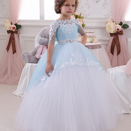 Wholesale Multi Color Tulle Ankle Dress - Cheap Flower Girl Dresses Simple Short Sleeve Ball Gown Girl Dresses Tull Applique Crystal Sash Formal Girl Dresses Wedding Gown