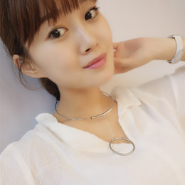 Wholesale Simple Tubes - Maxi Choker Punk Style Necklaces for women Party Luxury Choker Collar metal Copper tube Loop Simple Personality Torques Female xr160612