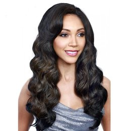 Wholesale celebrity body wave - Synthetic hair wigs body wave long wigs with side bangs Mix color Celebrity style pelucas for Africa Black women full wigs