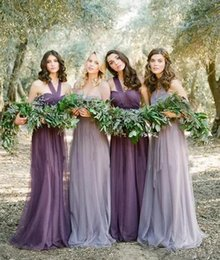 Wholesale Real Low Cheap - Real Photo 2017 Cheap Fairy Country Bridesmaid Dresses Long Purple Tull High Low Halter Neck Ruched Chiffon Boho Dresses Custom Made