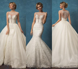 Wholesale Scoop Neck Lace Dress - 2017 Luxury Gorgeous Lace Wedding Dresses with Detachable Skirt Amelia Sposa Sheer Beaded Scoop Neck Button Back Overskirts Wedding Gowns