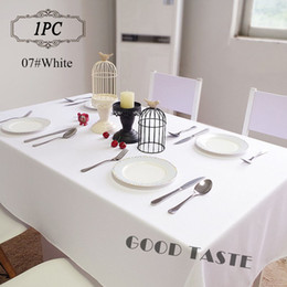 white linen table cloth Canada - 1PC Table Linens of Wedding  Polyester Black Table Cloth for Banquet Hotel Decor  Square Endurable Table Cover Cloths White Free Shippping
