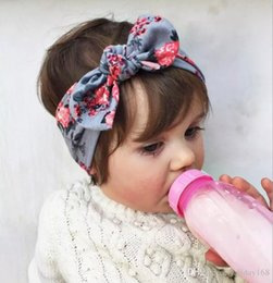 Wholesale Pick Hair - 2017 New Baby Bow Headband Girls Bohemian bunny Hairband leopard flower printed Baby 19*6 pick color Hair Accessories