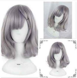 Wholesale Lolita Anime Costume - HOT! Anime Cosplay Party Grey Women's Lady Lolita Short Curly Wavy Hair Costume Wigs & Free Shipping