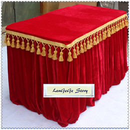 Wholesale Table Cloth Tassel - Free shipping Red table skirting Gold Velvet fabric table cloths table apron with tassel trim 13ft*30in many size can choose