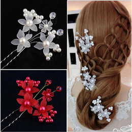 Wholesale Color Sticks For Hair - New Arrival Wedding Bridal Accessory Jewelry For Women Pearl Hair Pins Hair Clips Bridesmaid Jewelry White and Red color