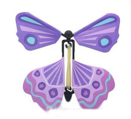 Wholesale Wholesale Book Bands - Flying Butterfly Card Toys Magic Plastic In the Book Rubber Band Powered Easy Magic Tricks Props for Children Gift 100pcs Free Shipping