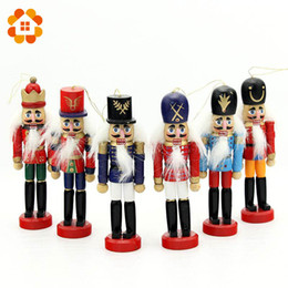 Wholesale Plastic Model Soldiers - 6pcs Nutcracker Puppet Zakka Creative Desktop Decoration 12cm Wood Made Christmas Ornaments Drawing Walnuts Soldiers,Band Dolls