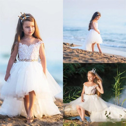 Wholesale Sleeveless Jewel Neckline Wedding Dresses - Lovely High Low Flower Girls Dresses For Weddings Sheer Neckline Cap Sleeves Girls Pageant Dress With Sash Beads Kids Party Birthday Gowns