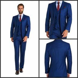 Wholesale Grooms Tuxedos Wedding Royal Blue - Custom 2017 Two Button Royal Blue wedding tuxedos Notch Lapel Groom Tuxedos Man Suits (Jacket+Pants+Suits) wedding suits men Suits
