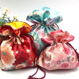 Wholesale Satin Drawstring Favor Bags - Japanese Style Flower Printing Drawstring Pocket Jewelry Gift Bag Silk Satin Bags 20*19cm Doypack Free Shipping ZA4323