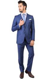 Wholesale Mens Red Vest Tie - Wholesale-Fashionable Two Button Blue Groom Tuxedos Groomsmen Mens Wedding Suits Prom Bridegroom (Jacket+Pants+Vest+Tie) NO:462