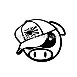 Wholesale Rally Sticker - HotMeiNi Wholesale 20pcs lot JDM Angry Rally Pig With Japan Hat Vinyl Decals Drift Auto Truck Bumper Laptop Funny Car Sticker 13 Colors