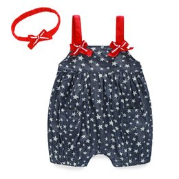 Wholesale Baby Headhands - Wholesale new 2016 summer 0-2 years newborn baby romper clothes stars print straps jumpsuits + headhands free shipping