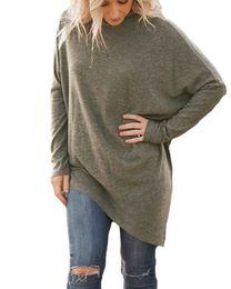 Wholesale Womens Poncho Shirt - Womens Asymmetric Long Sleeve Sweater Girls Long Batwing Sleeves Turtleneck Pullovers Tops Faux Poncho Knitwear T-shirt