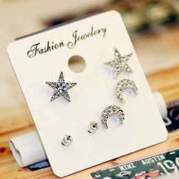 Wholesale Costume Jewelry Sets For Sale - Hot Sale 3pairs set Women's Earrings Fashion Crystal Small Earrings Silver Gold Plated Star & Moon Stud Earrings for Girl's Costume Jewelry