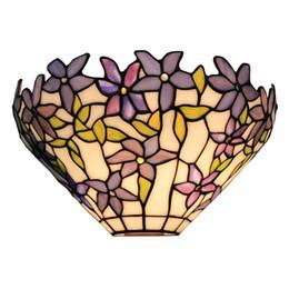 Lampe murale vitrail en Ligne-Appliques murales à 1 lumière à motif vitrail avec abat-jour en verre de 12 pouces de largeur
