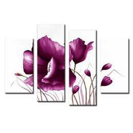 Wholesale Tulip Canvas Wall Art - 4 Picture Combination Canvas Violet Tulip Frameless Paintings Modern Art Picture Prints Painting On Canvas For Home Wall Decor